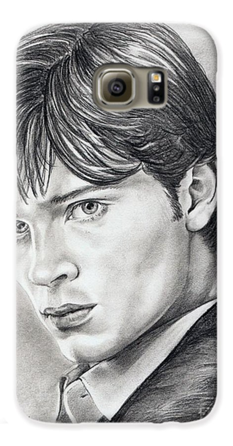 Superman Galaxy S6 Case featuring the drawing Smallville Tom Welling by Murphy Elliott