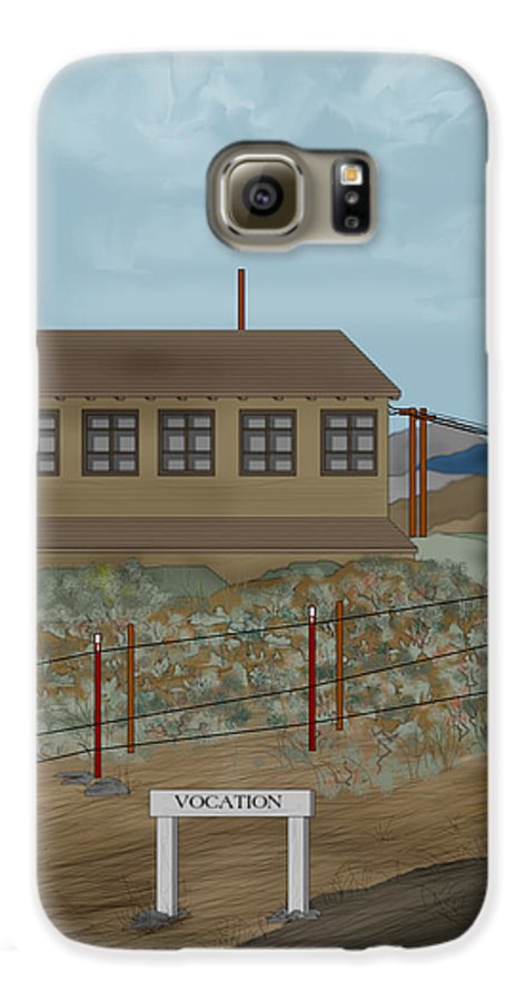 Camp Vocation Galaxy S6 Case featuring the painting Smokestack And Heart Mountain At Camp Vocation by Anne Norskog