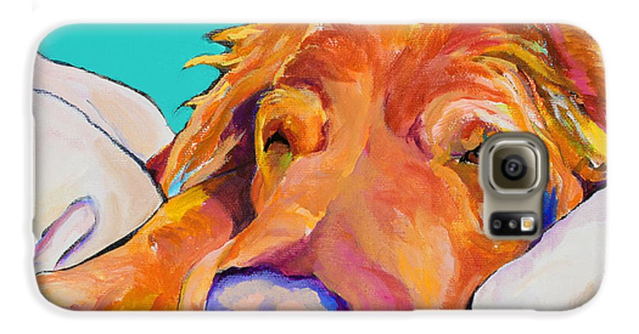 Dog Poortraits Galaxy S6 Case featuring the painting Snoozer King by Pat Saunders-White