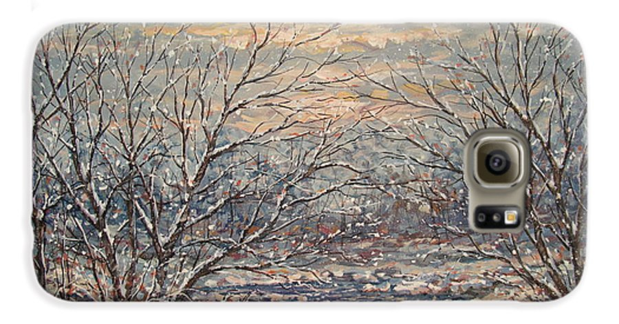 Landscape Galaxy S6 Case featuring the painting Snow By Brook. by Leonard Holland
