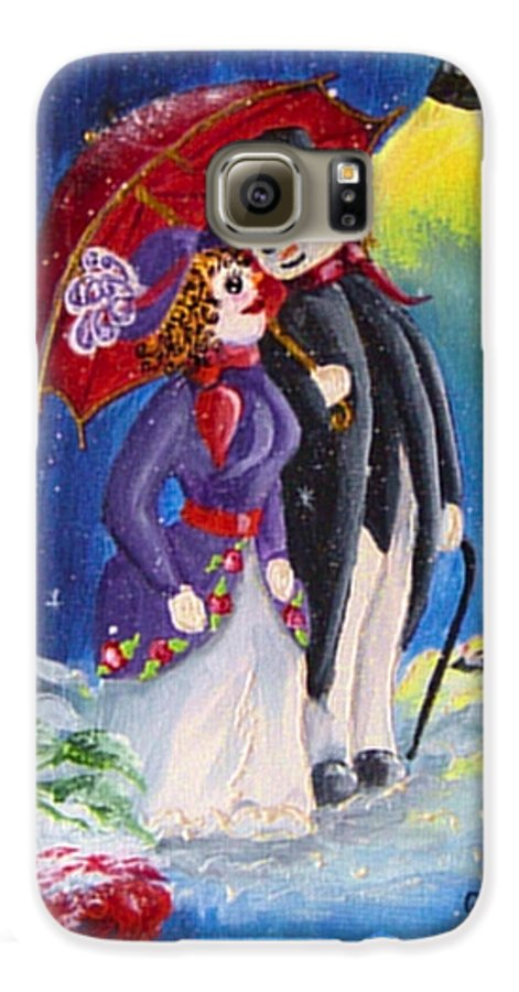 Snow Galaxy S6 Case featuring the painting Snow Couple by Quwatha Valentine