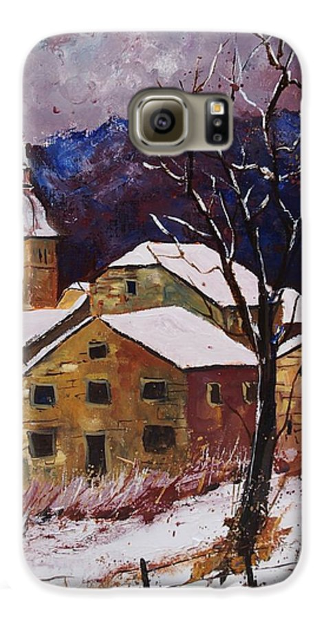 Landscape Galaxy S6 Case featuring the painting Snow In Chassepierre by Pol Ledent
