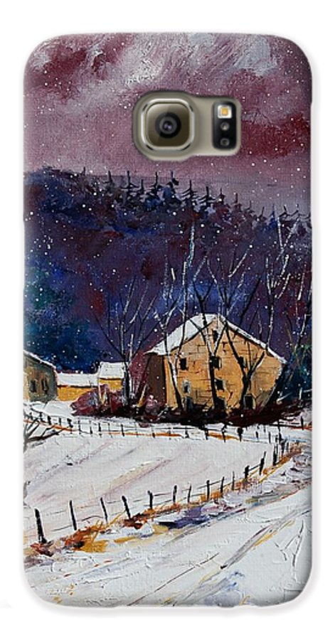 Landscape Galaxy S6 Case featuring the painting Snow In Sechery by Pol Ledent