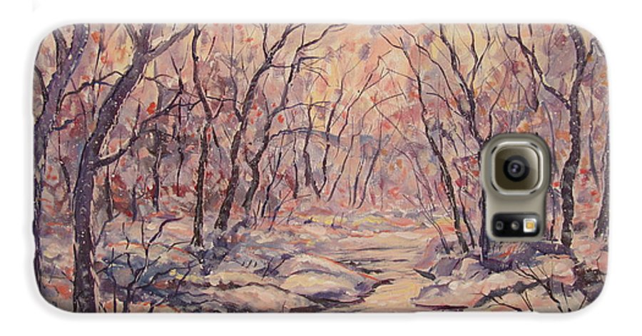 Landscape Galaxy S6 Case featuring the painting Snow In The Woods. by Leonard Holland
