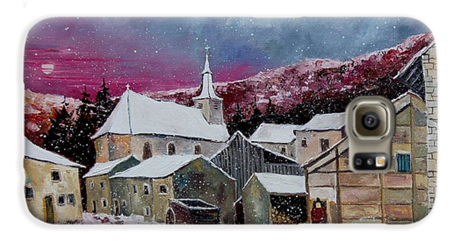 Snow Galaxy S6 Case featuring the painting Snow Is Falling by Pol Ledent
