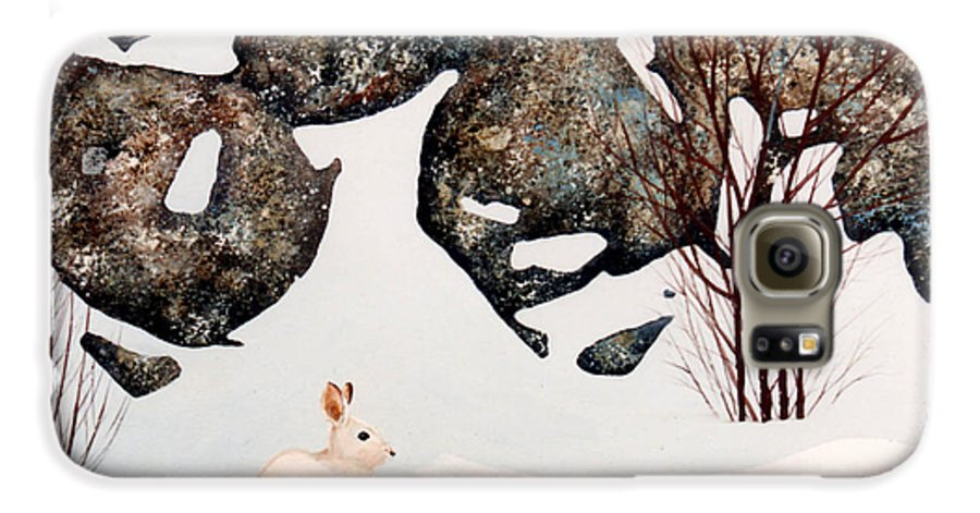 Wildlife Galaxy S6 Case featuring the painting Snow Ledges Rabbit by Frank Wilson