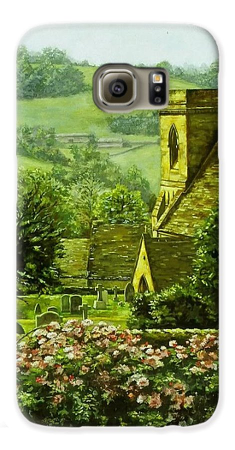 Landscape Church Galaxy S6 Case featuring the painting Snowshill by Ruth Stromswold