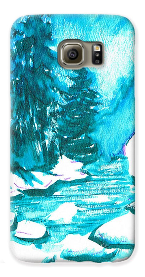 Chilling Galaxy S6 Case featuring the mixed media Snowy Creek Banks by Seth Weaver