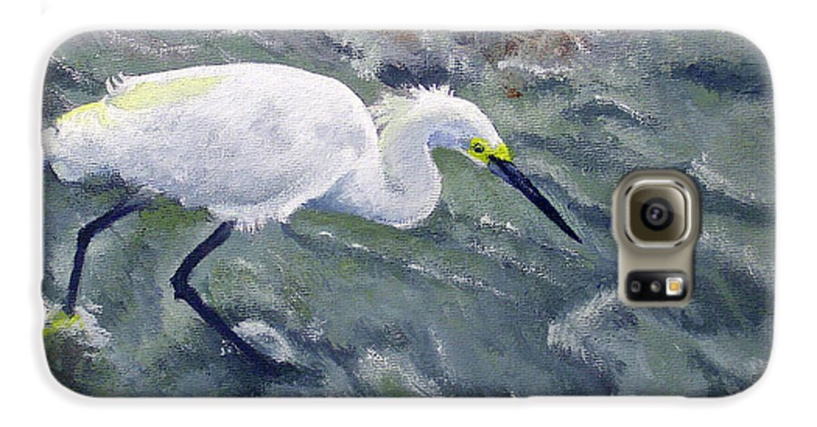 Egret Galaxy S6 Case featuring the painting Snowy Egret Near Jetty Rock by Adam Johnson