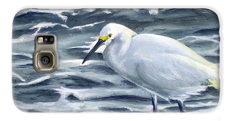 Egret Galaxy S6 Case featuring the painting Snowy Egret On Jetty Rock by Adam Johnson