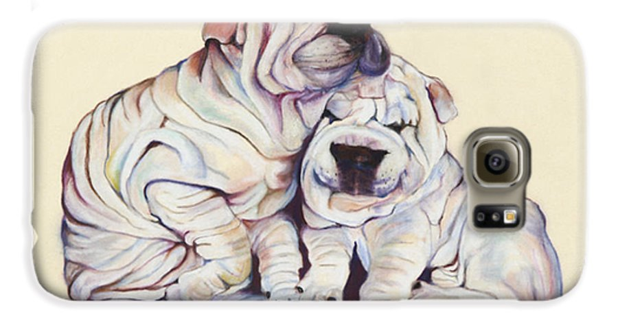 Dog Painting Galaxy S6 Case featuring the pastel Snuggles by Pat Saunders-White