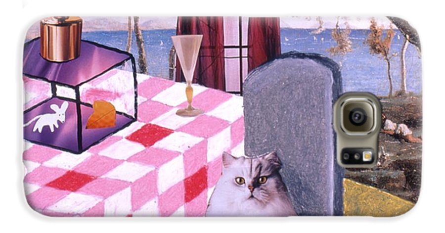 Cat Galaxy S6 Case featuring the drawing Soap Scene #14 Mouse In A Cage by Minaz Jantz