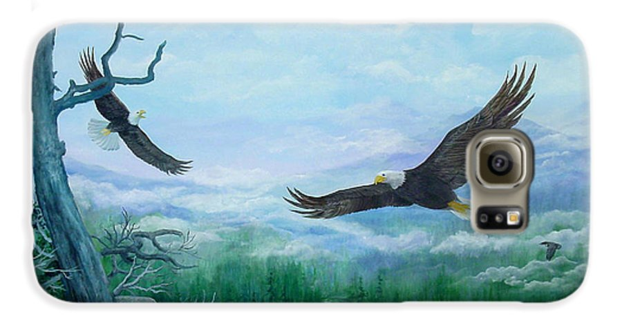Eagles;birds;river Valley;mountains;sky; Galaxy S6 Case featuring the painting Soaring by Lois Mountz