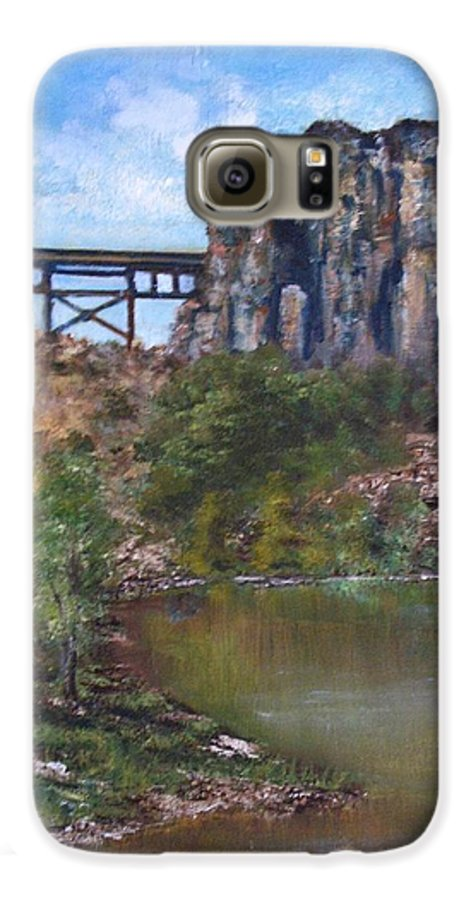 Landscape Galaxy S6 Case featuring the painting S.o.b Caynon by Darla Joy Johnson