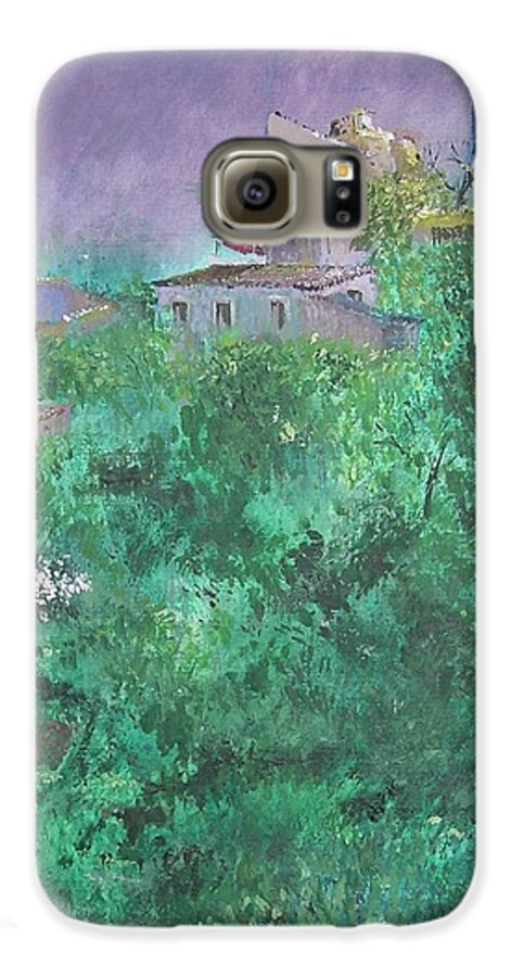 Impressionist Galaxy S6 Case featuring the painting Solitary Almond Tree In Blossom Mallorcan Valley by Lizzy Forrester