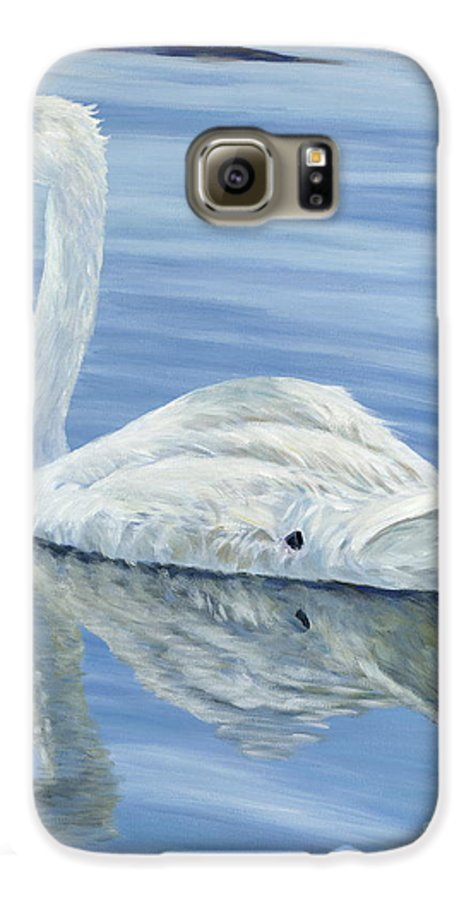 Swan Galaxy S6 Case featuring the painting Solitary Swan by Danielle Perry