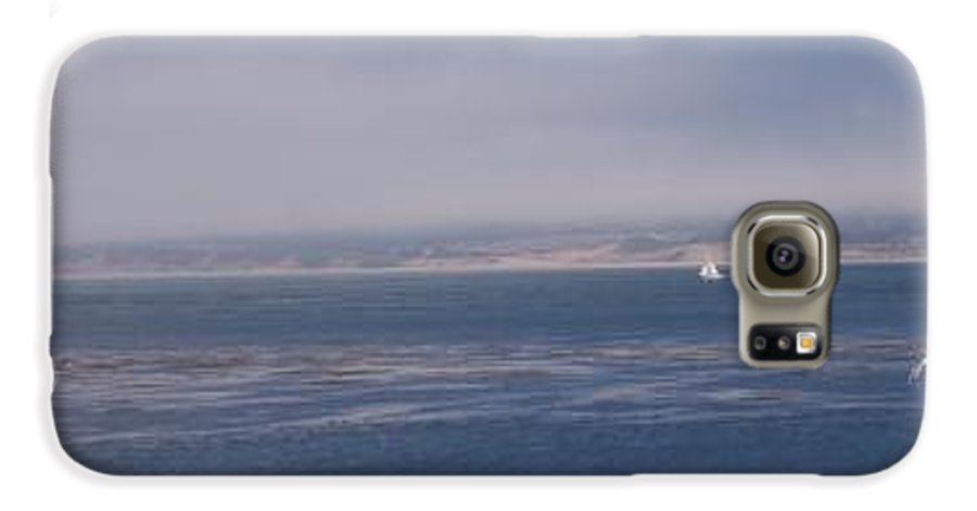 Sailing Outdoors Sail Ocean Monterey Bay Sea Seascape Boat Shoreline Sky Pacific Nature California Galaxy S6 Case featuring the photograph Solo Sail In Monterey Bay by Pharris Art
