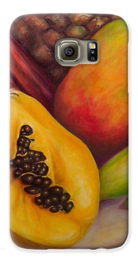 Tropical Fruit Still Life: Mangoes Galaxy S6 Case featuring the painting Solo by Shannon Grissom