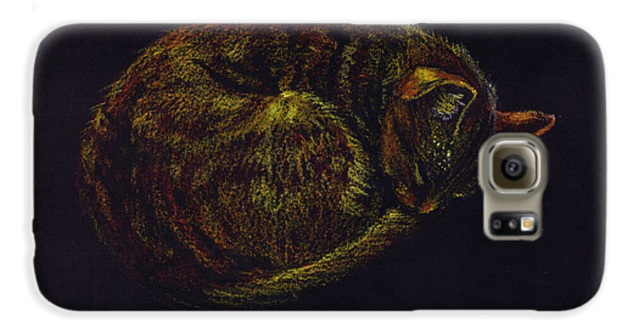 A Cat Soundly Asleep-oil Pastel Galaxy S6 Case featuring the painting Sound Asleep II by Mui-Joo Wee