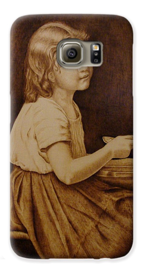 Portrait; Soup; Stool; Spoon; Sepia; Skirt; Galaxy S6 Case featuring the pyrography Soup by Jo Schwartz