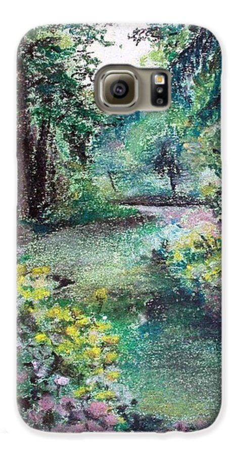 Landscape Galaxy S6 Case featuring the drawing Sous-bois by Muriel Dolemieux
