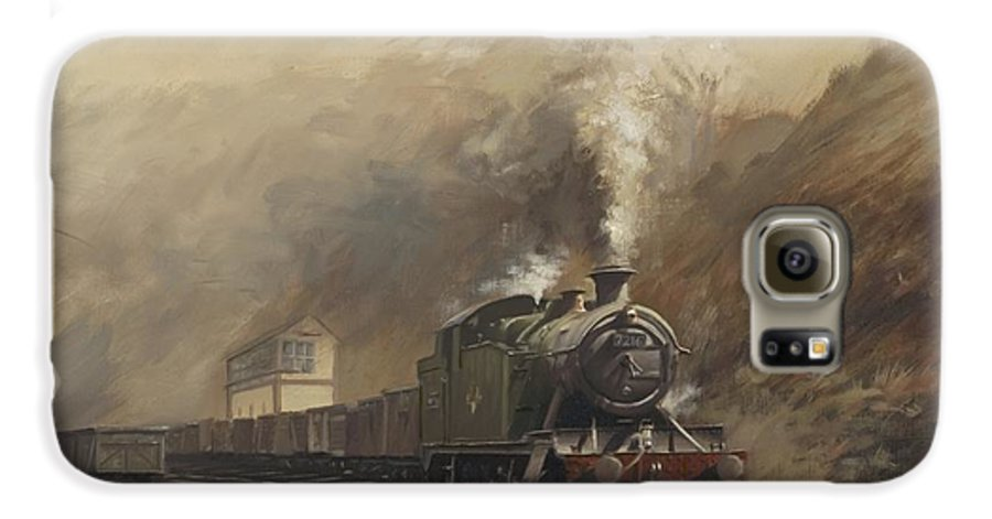 Steam Galaxy S6 Case featuring the painting South Wales Coal Train by Richard Picton
