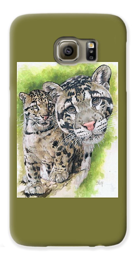 Clouded Leopard Galaxy S6 Case featuring the mixed media Sovereignty by Barbara Keith