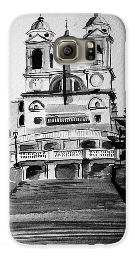 Ink Galaxy S6 Case featuring the painting Spanish Steps by Laura Rispoli