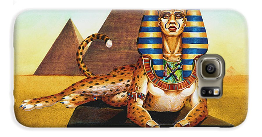 Cat Galaxy S6 Case featuring the painting Sphinx On Plinth by Melissa A Benson