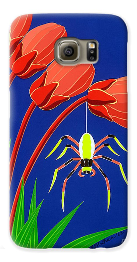 Nature Galaxy S6 Case featuring the drawing Spider by Lucyna A M Green