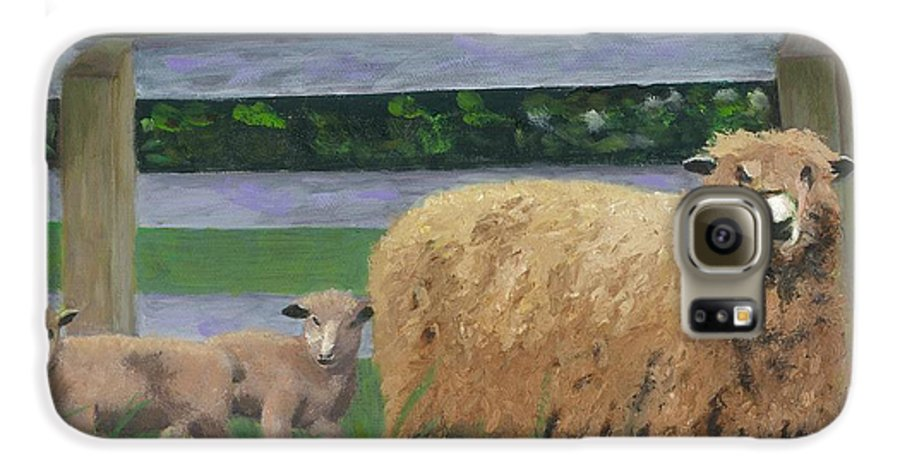 Sheep Lambs Countryside Farm Spring Galaxy S6 Case featuring the painting Sping Lambs by Paula Emery
