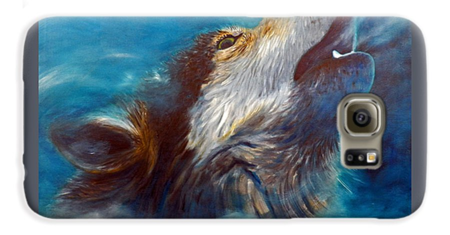 Wolf Galaxy S6 Case featuring the painting Spirit Of The Wolf by Brian Commerford