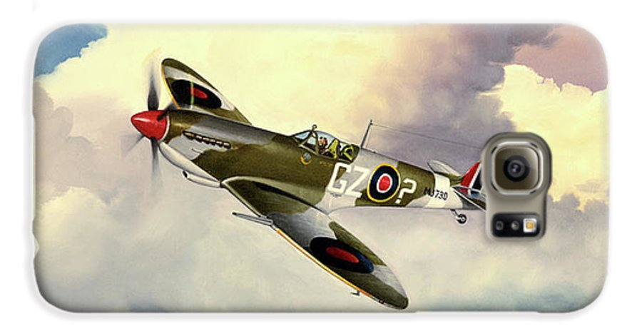 Military Galaxy S6 Case featuring the painting Spitfire by Marc Stewart