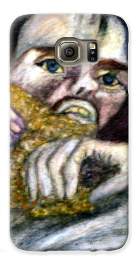 Spiritual Portrait Galaxy S6 Case featuring the painting Sponge Christ Your Eyes by Stephen Mead