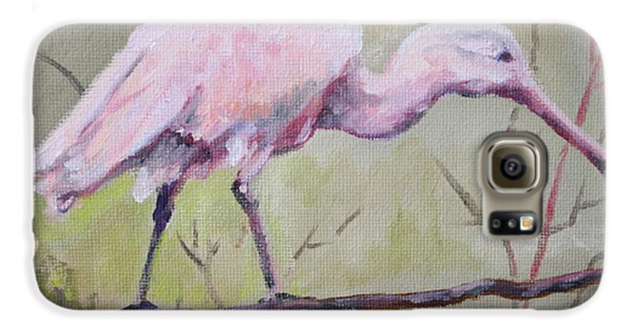 Bird Galaxy S6 Case featuring the painting Spoonbill by Carol Mueller