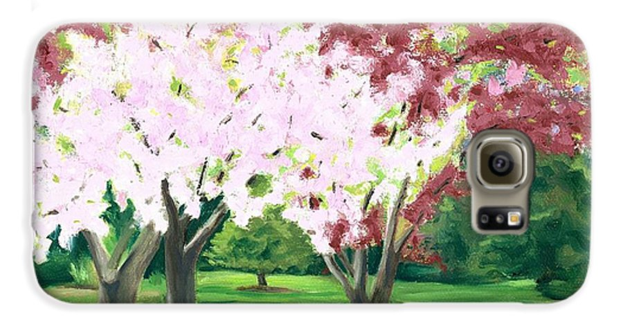 Spring Galaxy S6 Case featuring the painting Spring At Osage Land Trust by Paula Emery