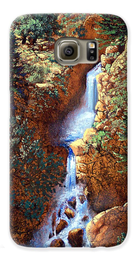 Wilderness Galaxy S6 Case featuring the painting Spring Cascade by Frank Wilson