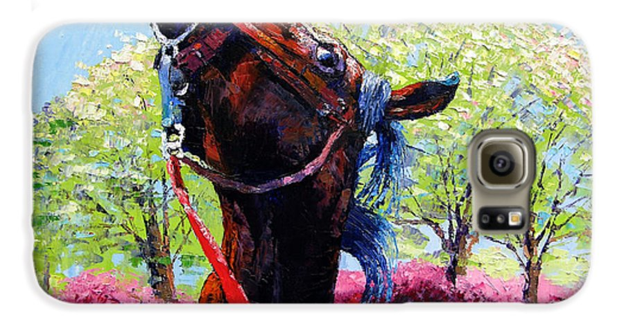 Horse Galaxy S6 Case featuring the painting Spring Fever by John Lautermilch