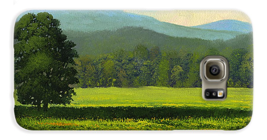 Landscape Galaxy S6 Case featuring the painting Spring Flowers by Frank Wilson