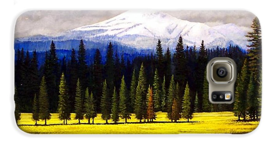 Landscape Galaxy S6 Case featuring the painting Spring Meadow Mount Brokeoff by Frank Wilson