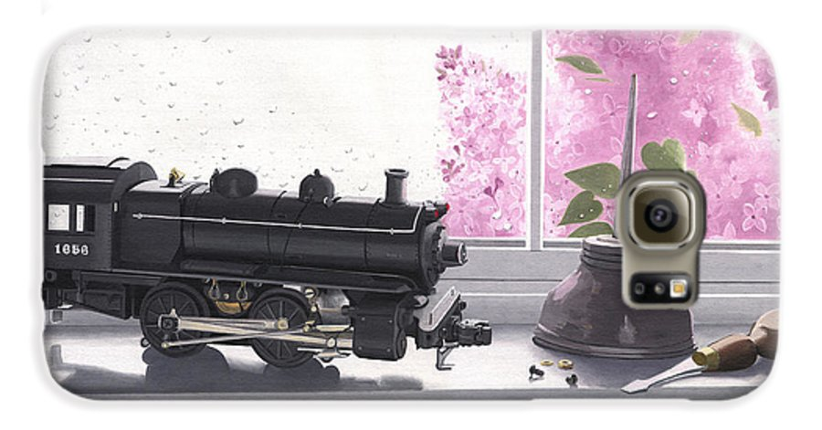 Lionel Galaxy S6 Case featuring the painting Spring Rain Electric Train by Gary Giacomelli