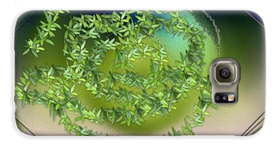Glass.plate.leaves.salad.light.shadow.dish.kitchen.beauty.spring. Galaxy S6 Case featuring the digital art Spring Salad On Glass Plate by Dr Loifer Vladimir