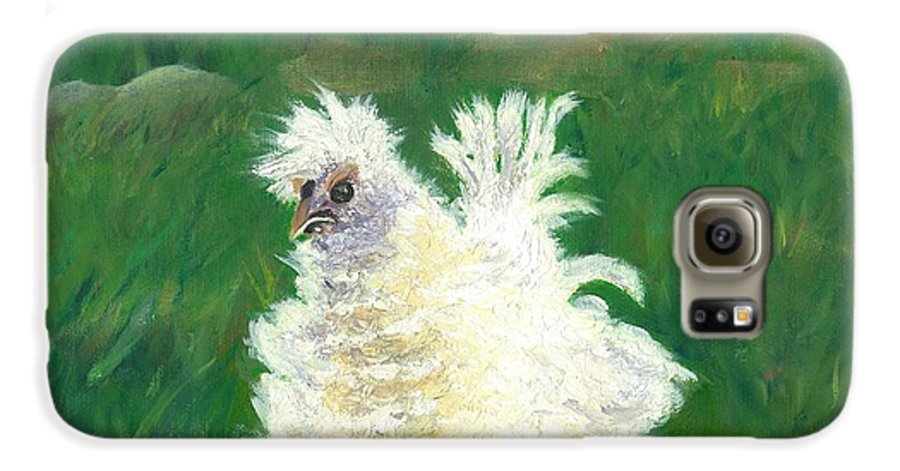 Bantam Frizzle Farmscene Chickens Hen Bird Nature Animals Spring Freerangers Galaxy S6 Case featuring the painting Squiggle by Paula Emery