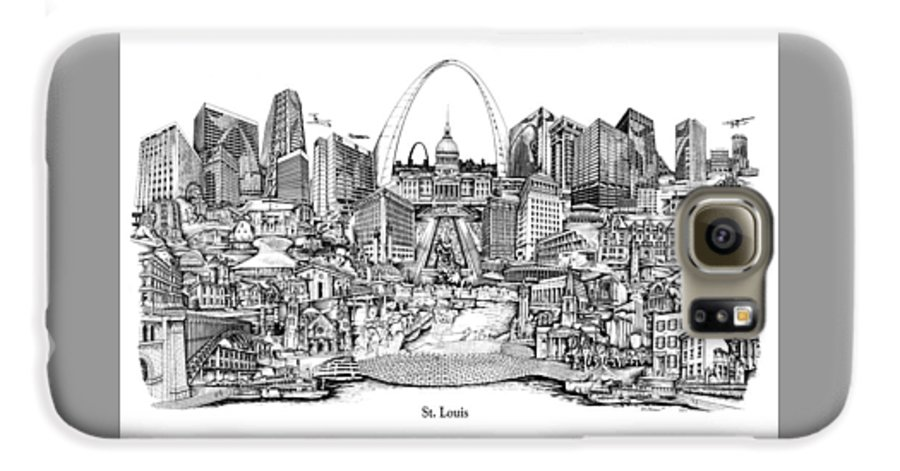 City Drawing Galaxy S6 Case featuring the drawing St. Louis 4 by Dennis Bivens