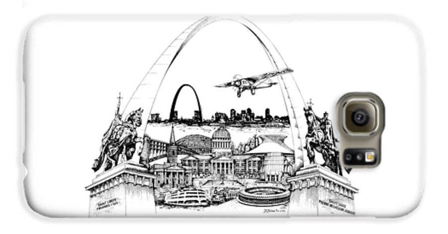 City Drawing Galaxy S6 Case featuring the drawing St. Louis Highlights Version 1 by Dennis Bivens