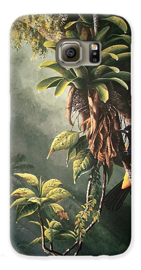 Chris Cox Galaxy S6 Case featuring the painting St. Lucia Oriole In Bromeliads by Christopher Cox
