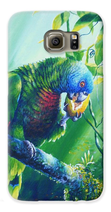 Chris Cox Galaxy S6 Case featuring the painting St. Lucia Parrot And Wild Passionfruit by Christopher Cox