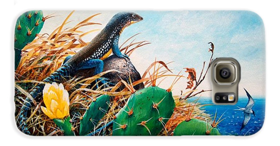 Chris Cox Galaxy S6 Case featuring the painting St. Lucia Whiptail by Christopher Cox