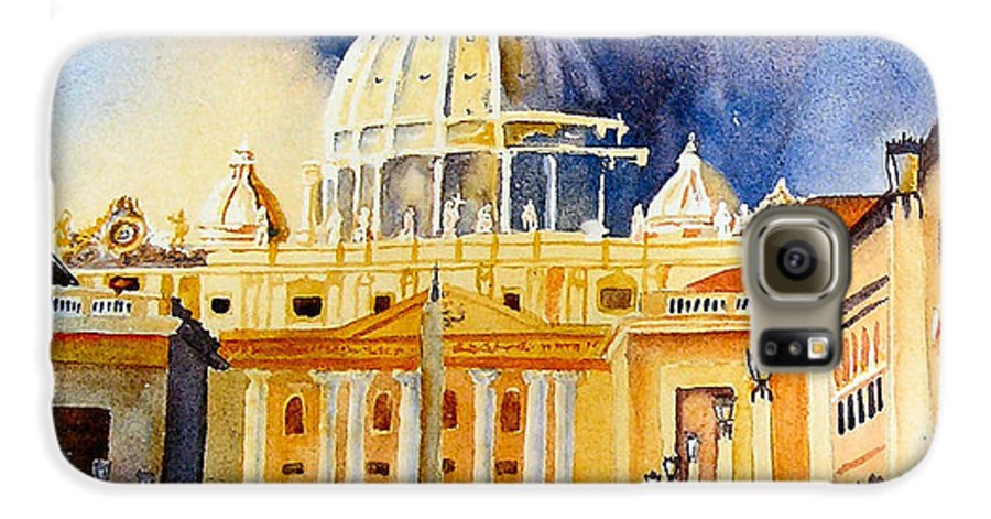 Vatican Galaxy S6 Case featuring the painting St. Peters Basilica by Karen Stark