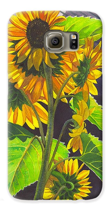 Sunflowers Galaxy S6 Case featuring the painting Stalk Of Sunflowers by Catherine G McElroy